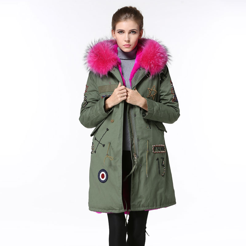 TOP Rose pink thiness fur lined beads fur parka for ladies winter wear with real fur hoodies
