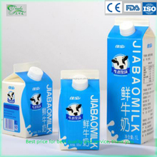 Custom good quality standard milk carton box with screw caps gable top