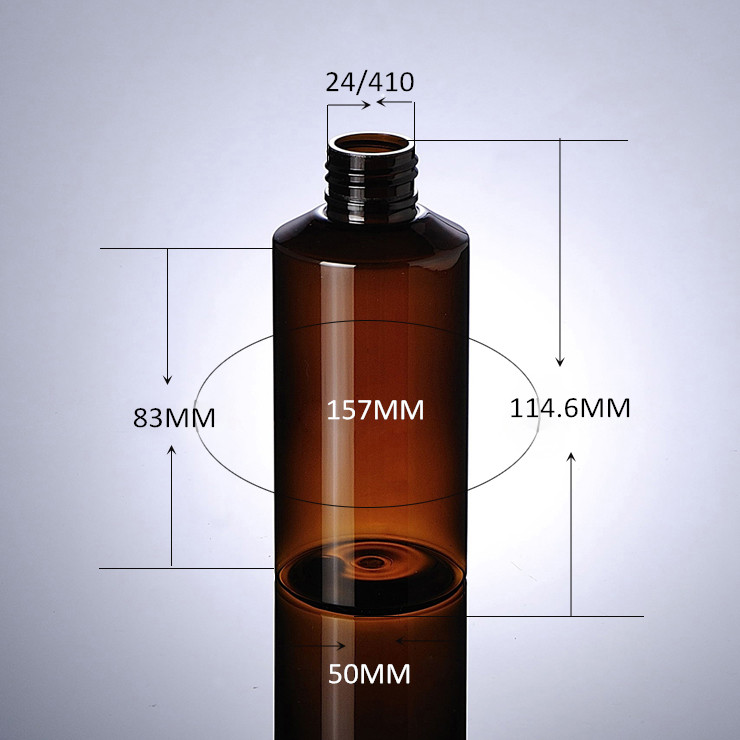 Wholesale New Amber color Plastic PET Bottle 150ml With White Lotion Pump For Facial Latex Packaging Use