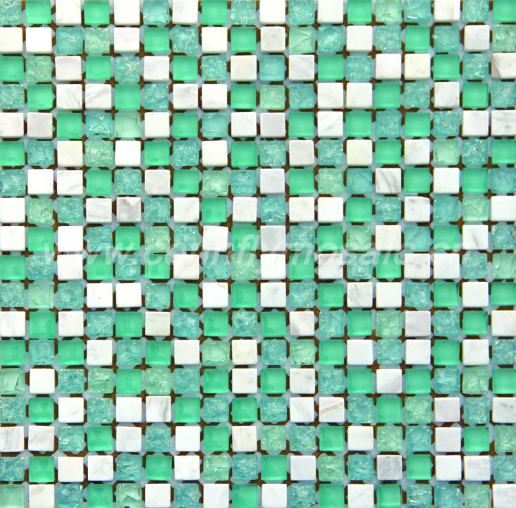 Cracked green glass white marble stone mosaic tile