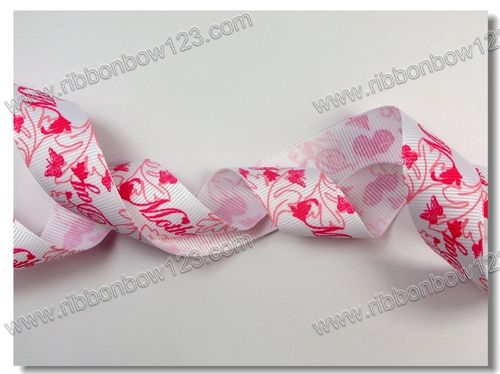 Foil print designs of ribbon flowers; garment ribbons