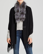 YR538 fox collar and wool poncho/pashmina with fox fur shawl