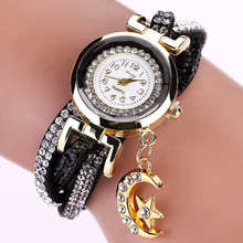 Duoya Gold 2017 New Crystal Luxury Moon Pendant Leather Bracelet Gift Fashion Casual Quartz Bracelet Brand Watch Women