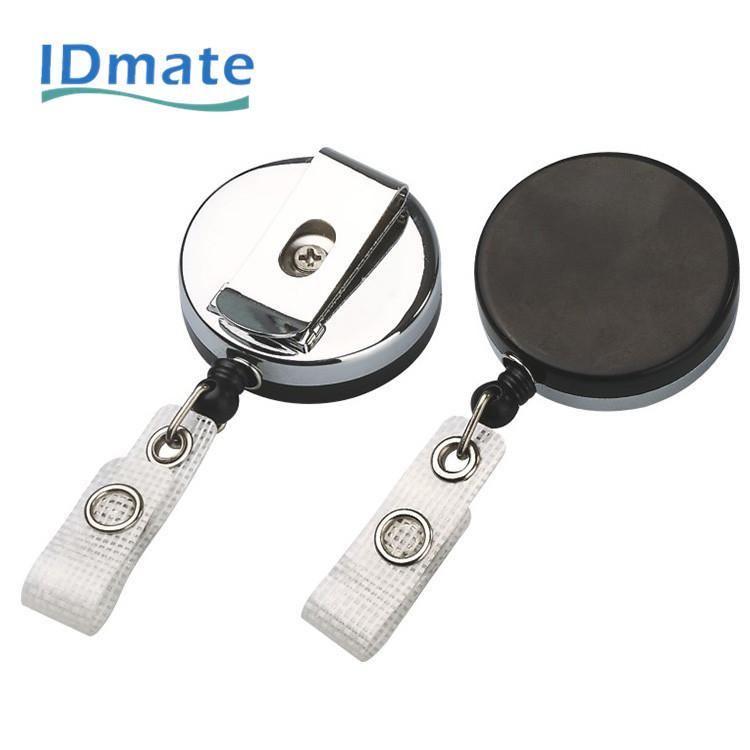 Black Retractable Key Chain Reel Steel Cord Recoil Belt Key Ring Badge Holder BH