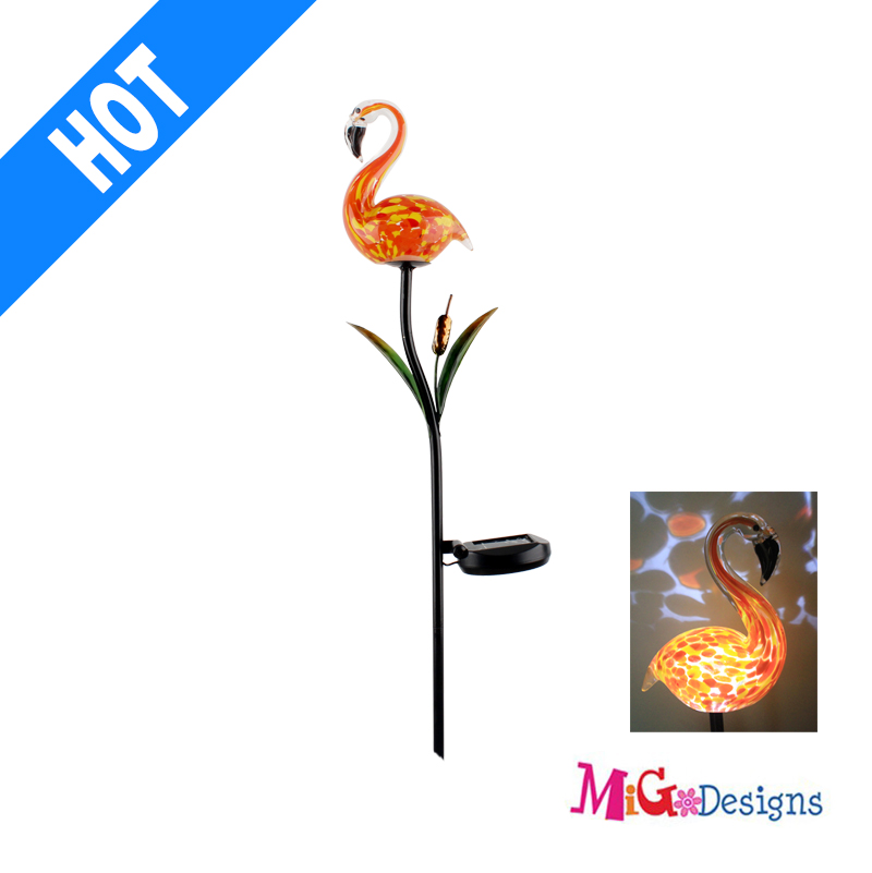 Peacock Solar Garden Light Modern Decoration Glass Flamigo Solar Garden Lights Stake Products - MG110166252