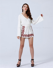 Mexican Embroidered White Oversized Dress Women New Clothing Wholesale ST047