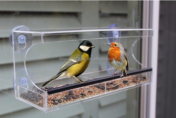 Clear acrylic bird feeder with removable tray wholesale