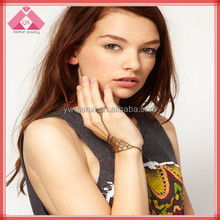 Pulsera Hot selling Europe America Punk Gold Bracelets With Ring Attached -BR15323