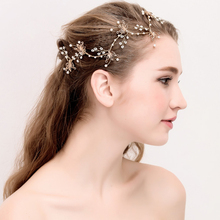 HB0057 JN High quality Charming Crystal Pearl Headbands Gold Maple leaf Bridal hair accessories Handmade Wedding bride tiara