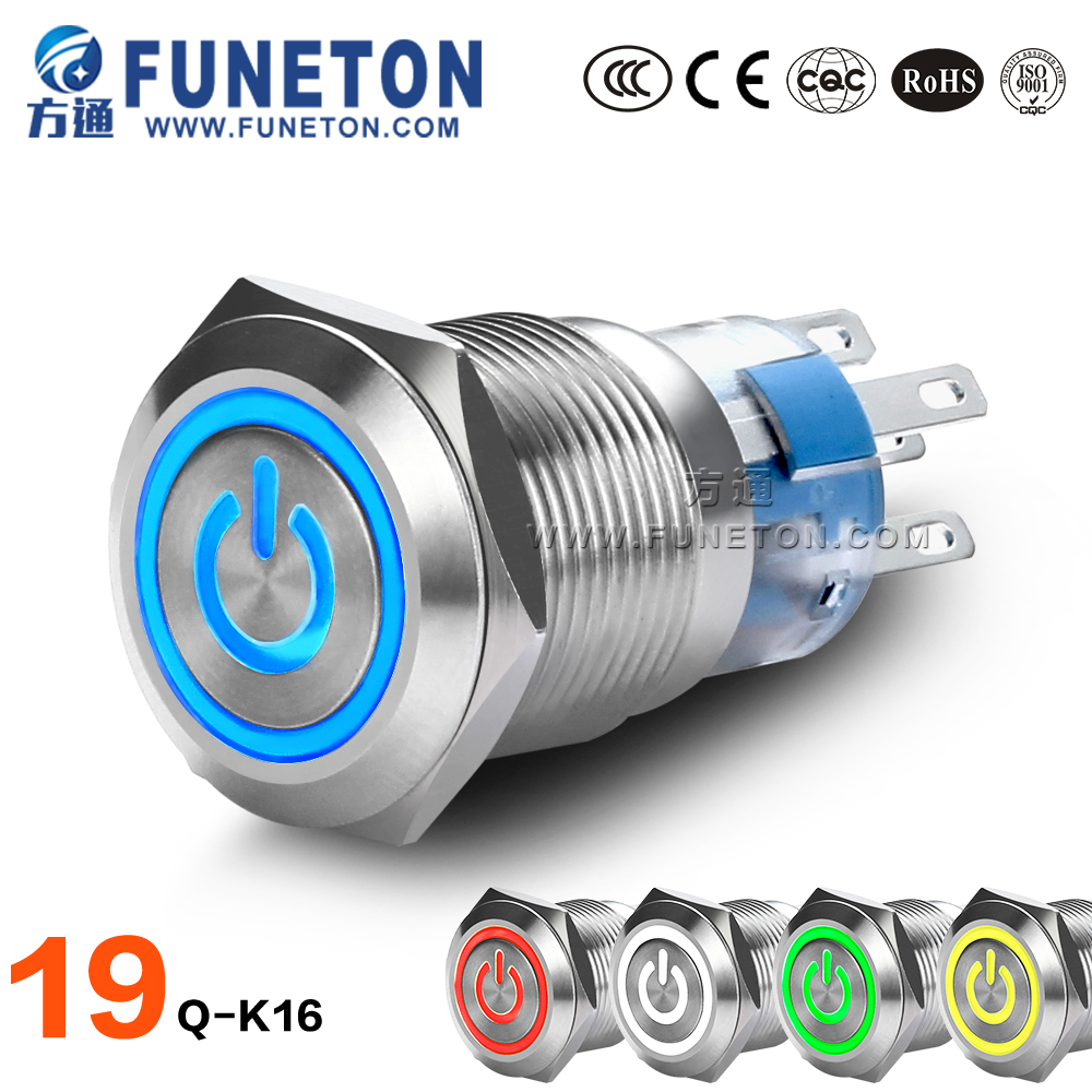 Waterproof Anti-vandal 19mm on off 19mm on off push button switch mini