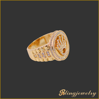Hip hop gold finish king crown ring with cz stones micro pave setting