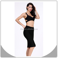 High fashion black 2 piece arabic style prom dresses sexy bodycon bandage dress