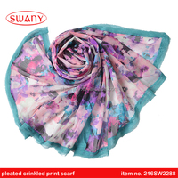 crinkled pleated floral new design print scarf