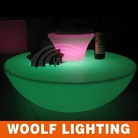 illuminated low led half moon shape bar table