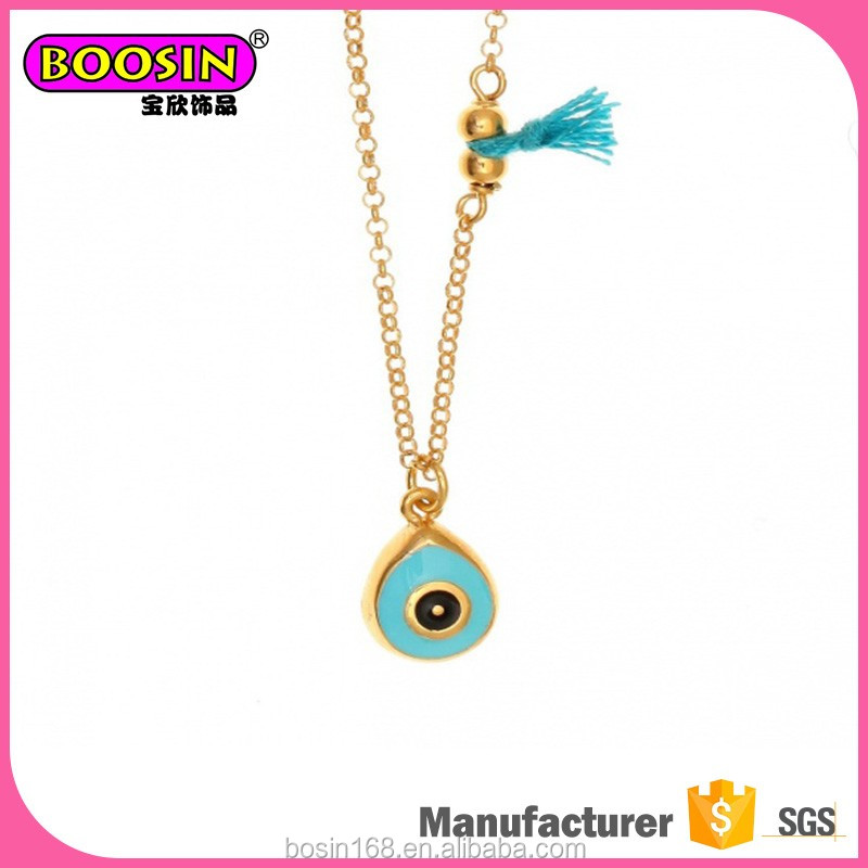 Cute enamel evil eye charm 10 gram gold necklace designs for kids jewelry