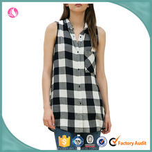 Latest design summer tops 100% cotton plaid ladies long sleeveless shirts