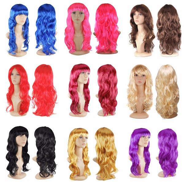 Multi color carnival party wigs fashion synthetic fiber body wave wigs LP4001