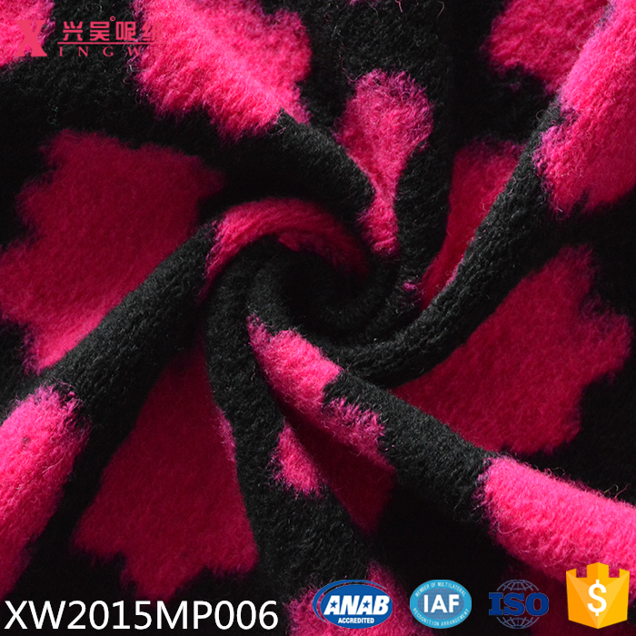 XW2015MP006 wool acrylic polyester mix knit fabric one side jacquard french terry fabric for winter outwear