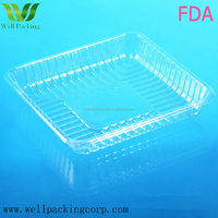 square FDA certificate eco-friendly biodegradable high quality PET clear plastic packing tray for fruit