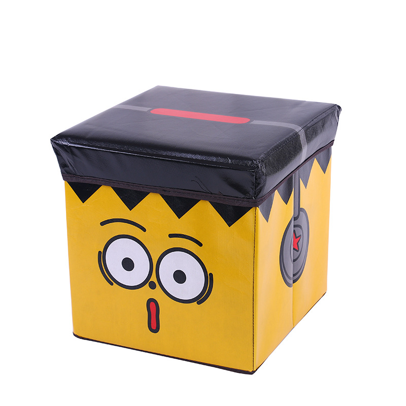 2019 Competitive Price Cartoon Kids Foldable  Storage Ottoman Stool