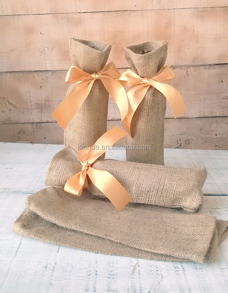Hot sell refillable burlap wine bottle holder bag for holiday