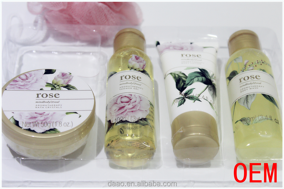 Rose mindbody and cherry blossom Promotional Fashion moisturizing body lotion.refreshing shower gel. invigorateing body scrub.