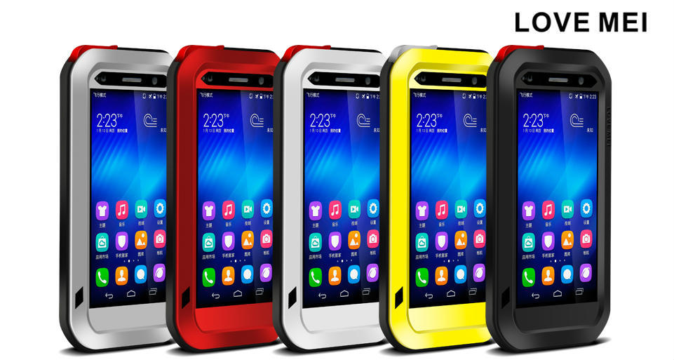 For Huawei Honor 6 Case Love Mei Powerful Rugged Waterproof Shockproof Dirtproof Case with Glass Metal Aluminum case
