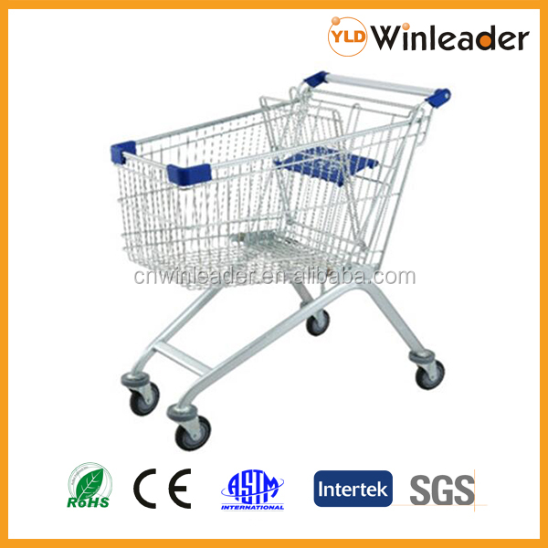 European style supermarket shopping trolley/shopping cart with seat