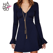 HAODUOYI Women Navy V Neck Flared Sleeve Contracted Dress for Wholesale