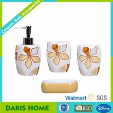 Chinese Customized Bath Room Accessory Factory, Wholesale Printed Ceramic Bathroom Accessory Set