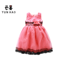 Europe New Design Party Wear Tulle Lace Side Design Kids Little Girls Princess Dress