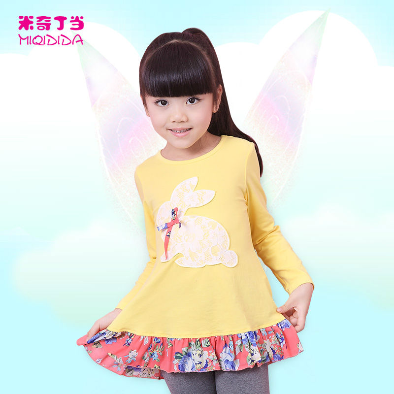 Full Sleeve With Lace Rabbit Patchwork Kids Clothes Factory Children Dress Girls Dress