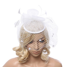 New Women Cocktail Party Wedding Fascinator Large Mesh Feather Handmade Hair Clip Decoration