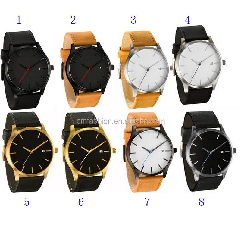 9 Colors Top Brand Outdoor Simple Classic Quartz Genuine Leather Wristband Men Watch With Calendar