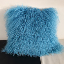 Cheap Wholesale Body Pillow Custom Colorful Throw Decorative Mongolian Lamb Fur Pillows For Sofa