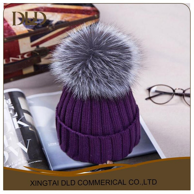 fashion winter real white fur pompom knitted beanie hats multi color dark purple
