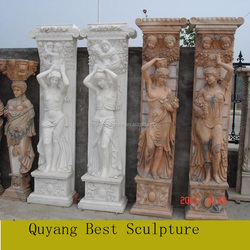 Large Size Marble Building Design Pillar with Lady Statue Carving Sculpture