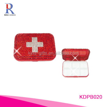 Bling bling diamond studded family essentials plastic pill box organizer wholesale
