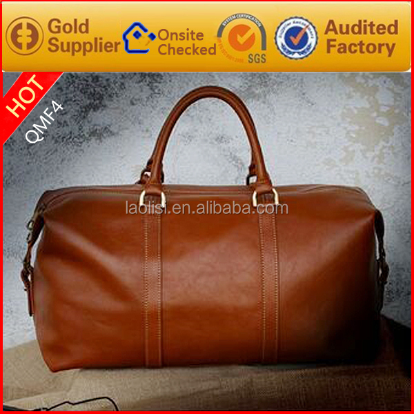Guangzhou factory wholesale Custom-made Genuine Leather Brand Design Brown Color Duffle Bag for men