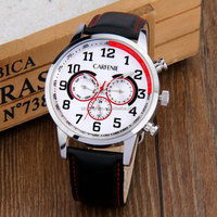 Stainless steel 6 hands wrist watch genuine leather band