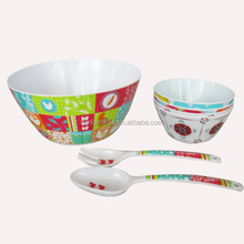 Hot selling melmaine 7pcs salad bowl round sets