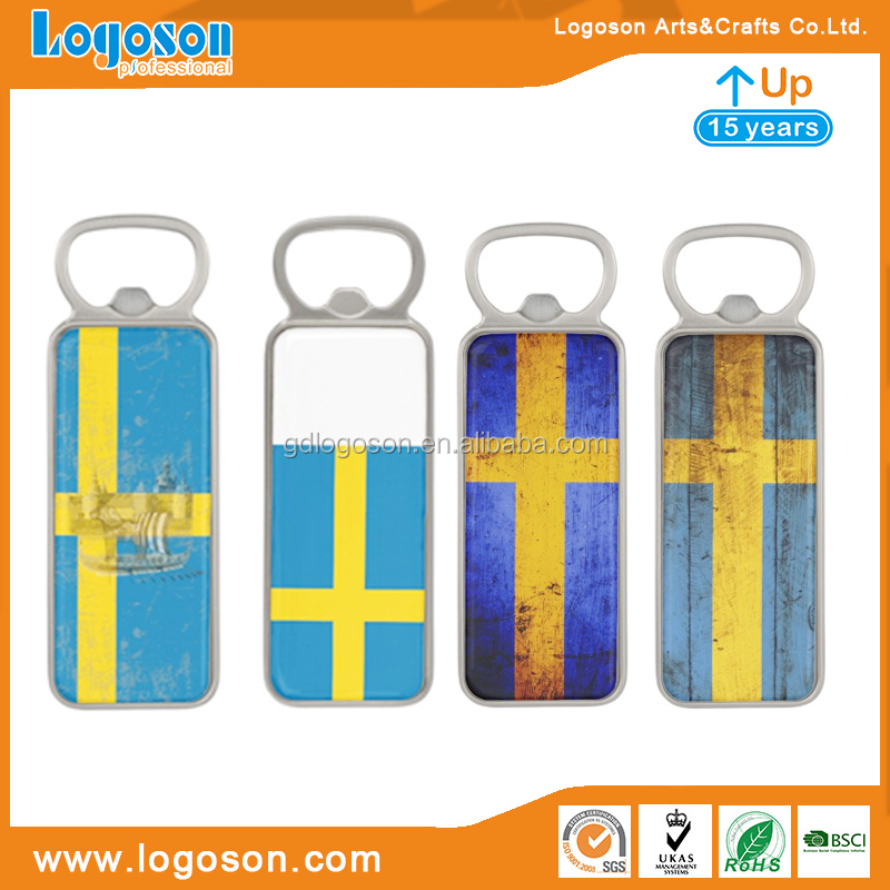 High Quality Souvenir Fridge Magnet Rectangle Sweden Flag Bottle Opener Metal Sticker Bottle Openers