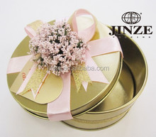 Exquisite wedding festival favor gold round candy tin boxes for wholesale