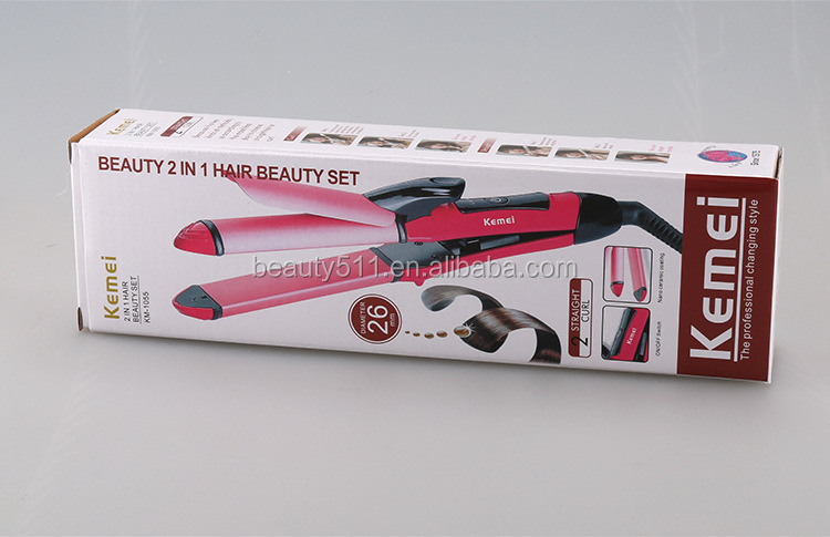 Two-in-one Mini Tourmaline ceramics Hair straightener Curling iron KM-1055