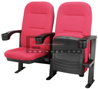 Cheap Theater Furniture Movable Cinema Chair Folding Theater Seat with Cup Holder