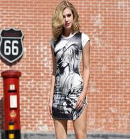 Fashion leading sexy pictures of girls without dress batik print dress women clothing