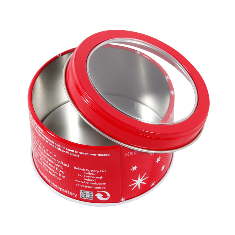 Small Round Tin Metal Boxes with Transparent Top for Chocolate Product