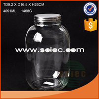 big volume 4L good quality clear glass jar with metal lid