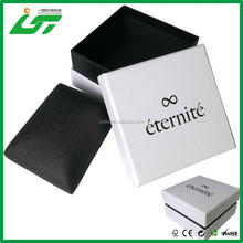 OEM custom white cardboard single watch gift box with hot stamping your logo on the top