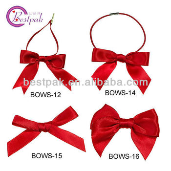 elegant red pre made elastic ribbon bow